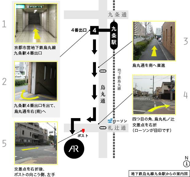 地下鉄烏丸線九条駅からの案内図
